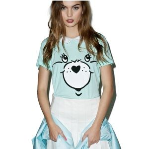 Iron Fist Tops - Iron Fist minty care bear stare girly T. size S
